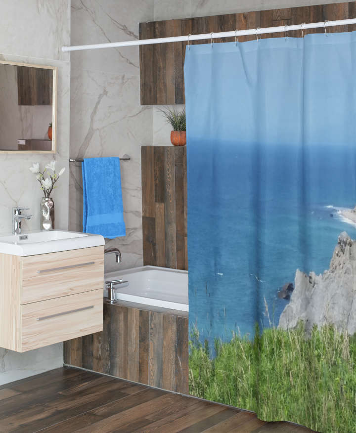 Block Island Bluffs shower curtain in a bathroom.