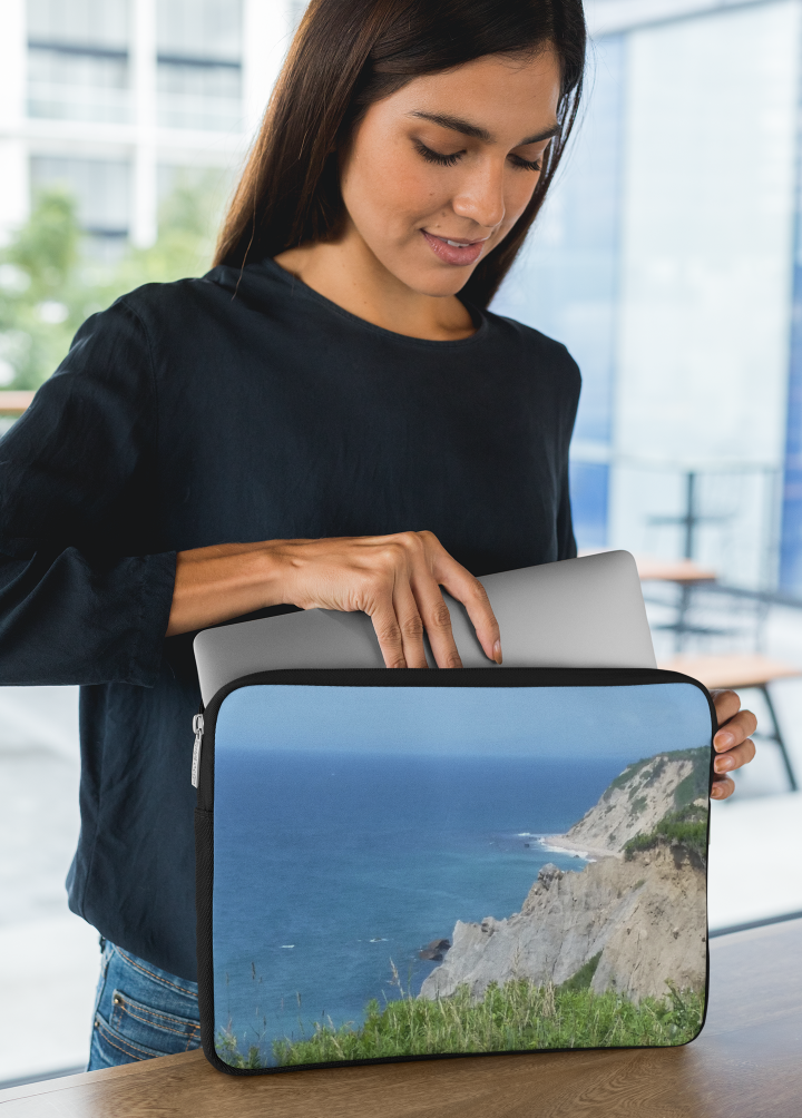 Girl with a Block Island Bluffs Laptop sleeve.