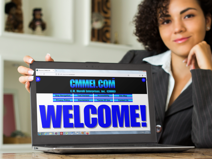Woman in back of a laptop displaying a welcome screen shot of this home page.