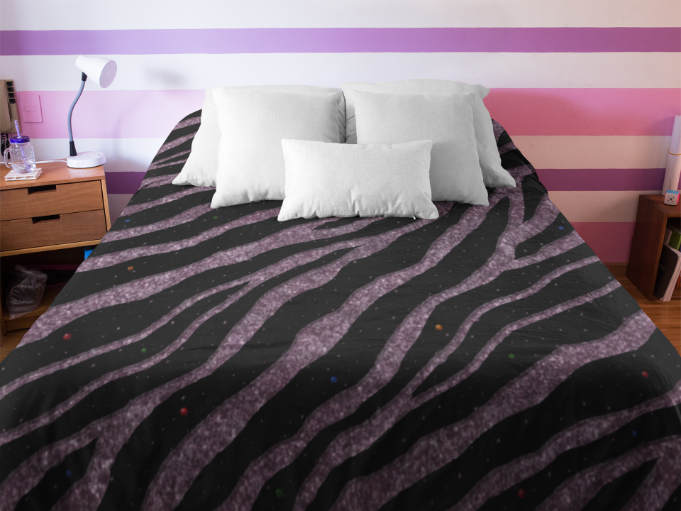 Glitter Pink Ripped Spacetime Stripes duvet.