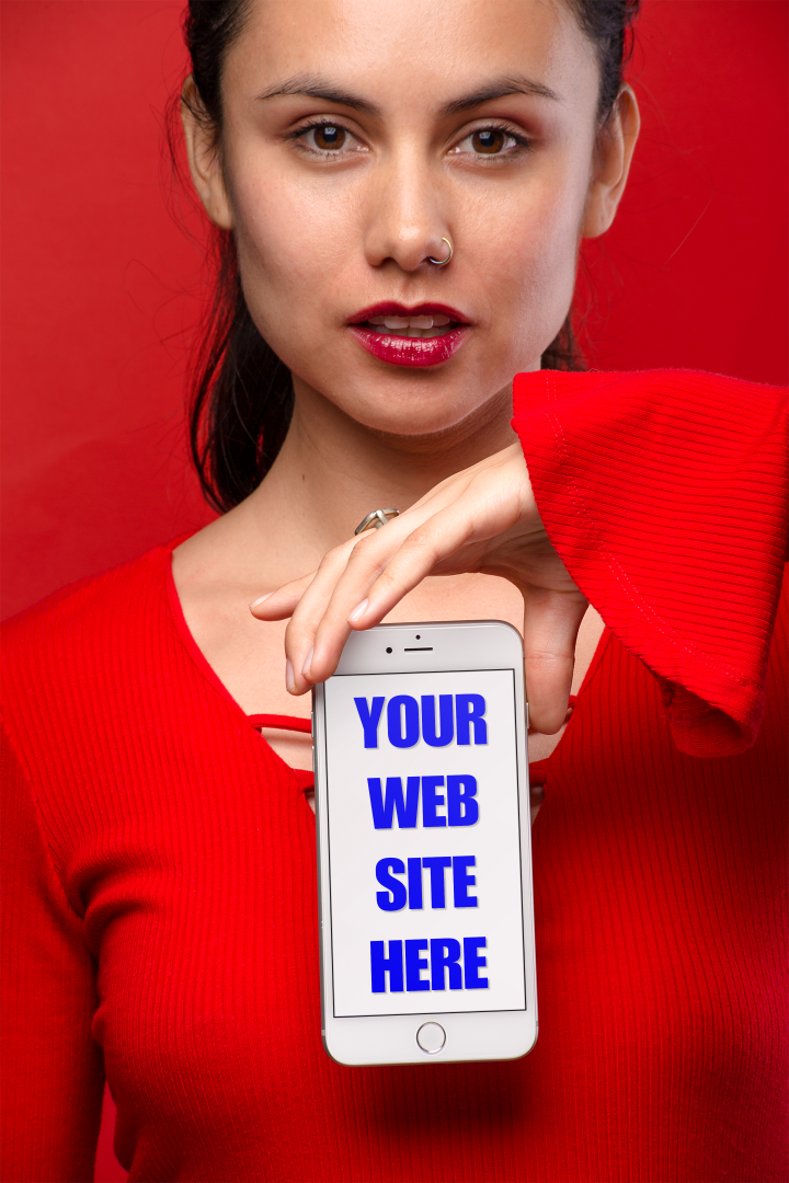 Woman holding a smartphone with Your Web Site Here on the screen.