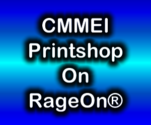 Blue gradient box with CMMEI PrintShop On RageOn® in it.