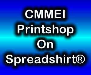 Blue gradient box with CMMShirts Printshops On Spreadshirt® in it.
